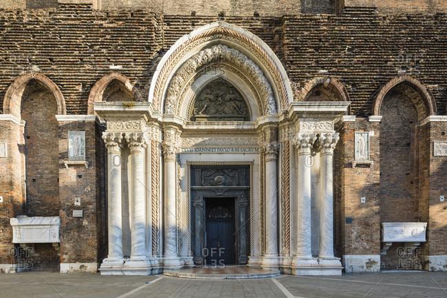 January 21, 2018: entrance portal of the basilica santi giovanni e paolo, campo di s. giovanni e paolo, venice, veneto, italy