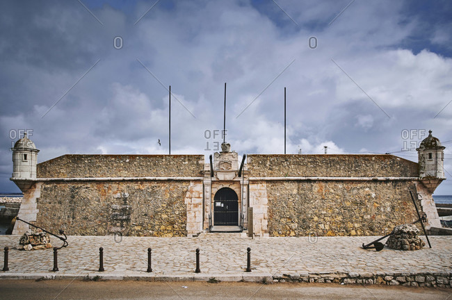 October 31, 2019: europe, portugal, algarve, litoral, barlavento, felsalgarve, faro district, lagos, forte ponta da bandeira, main portal on avenida dos descobrimentos