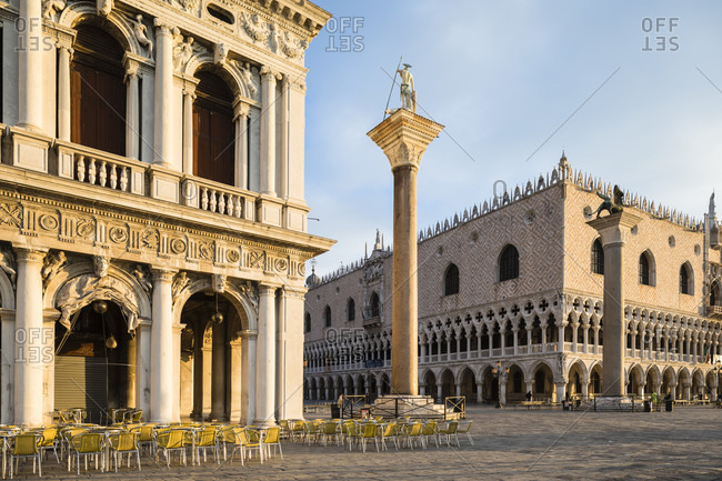March 23, 2018: biblioteca nazionale marciana, columns of san marco and san todaro, and doge's palace at st. mark's, venice, veneto, italy