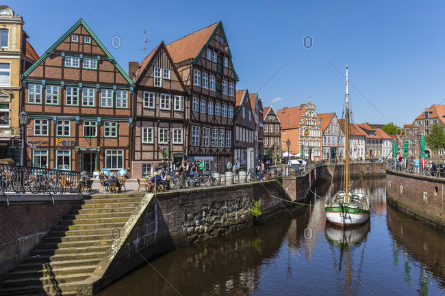 May 2, 2018: old harbor in the old town with its historic half-timbered houses, hanseatic town of stade, altes land, lower saxony, Germany