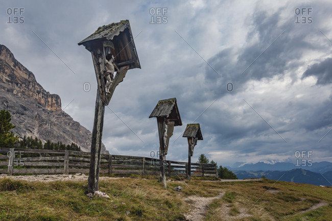 April 25, 2020: heilig kreuz hospiz pilgrimage church at the foot of the heiligkreuzkofel, the three crucifixes, hochabtei / alta badia, bolzano province, south tyrol, italy, europe