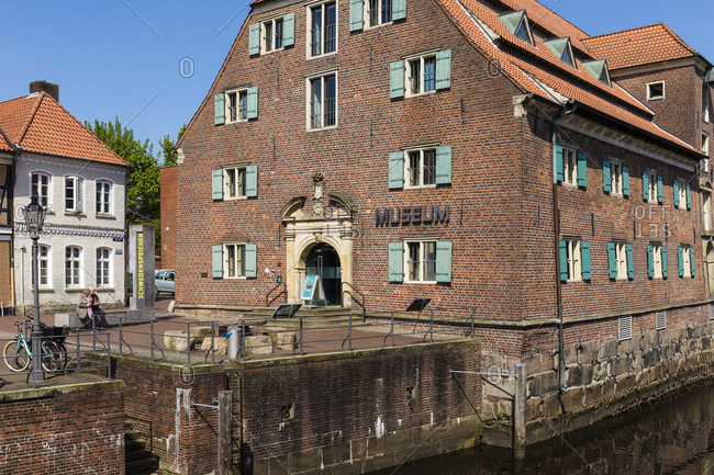 May 2, 2018: museum schwedenspeicher at the old harbor in the old town with its historic half-timbered houses, hanseatic town of stade, altes land, lower saxony, Germany
