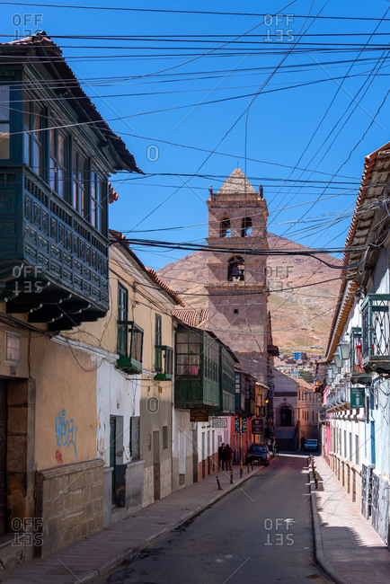 February 23, 2020: Colonial streets with in Potosi. Potosi, Bolivia