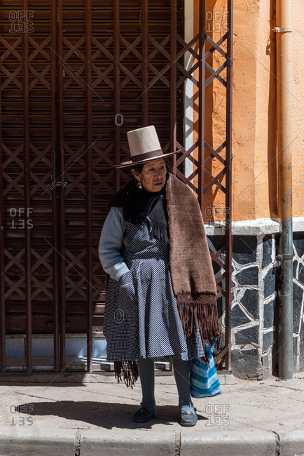 February 23, 2020: Bolivian older woman with traditional clothing from the Andean highlands. Potosi, Bolivia