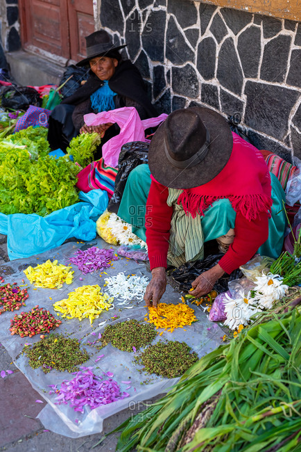 February 25, 2020: Women wearing traditional clothes and selling petals and vegetables on the street. Potosi, Bolivia