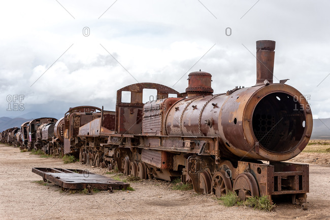 Old rusty locomotive abandoned in a train cemetery. Uyuni, Bolivia