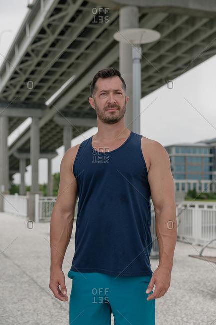 Portrait of a fit man after a workout