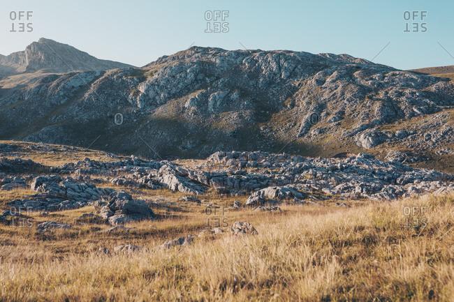 Rocky Bjelasnica mountain landscape in Bosnia and Herzegovina at sunset