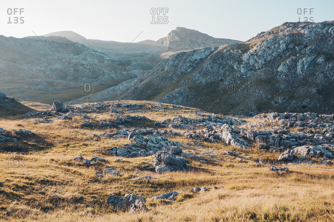 Beautiful rocky landscape of Bjelasnica mountain in Bosnia and Herzegovina at sunset