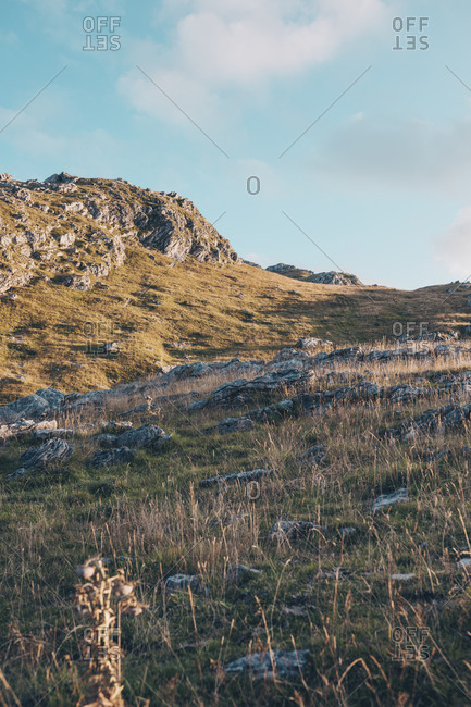 View of rocky landscape in the Bjelasnica mountains in Bosnia and Herzegovina at sunset