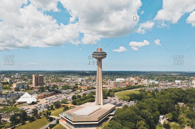 August 11, 2019: Aerial view of Skylon Tower with beautiful clouds near Niagara Falls, Canada.