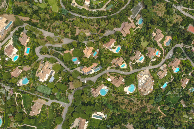 Aerial view of luxury villas with pool in Saint Tropez, France.