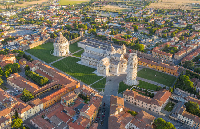 July 13, 2020: Aerial view of leaning tower of Pisa at sunrise in Italy.