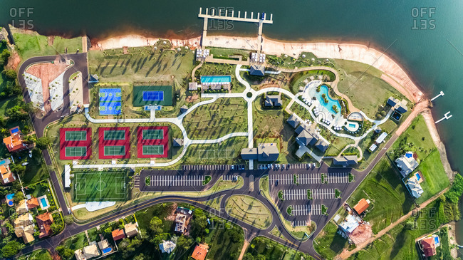 28 May 2017: Aerial View Of Luxury Riverside Residential Condominium Club House Facilities, Paranapanema, Sao Paulo, Brazil