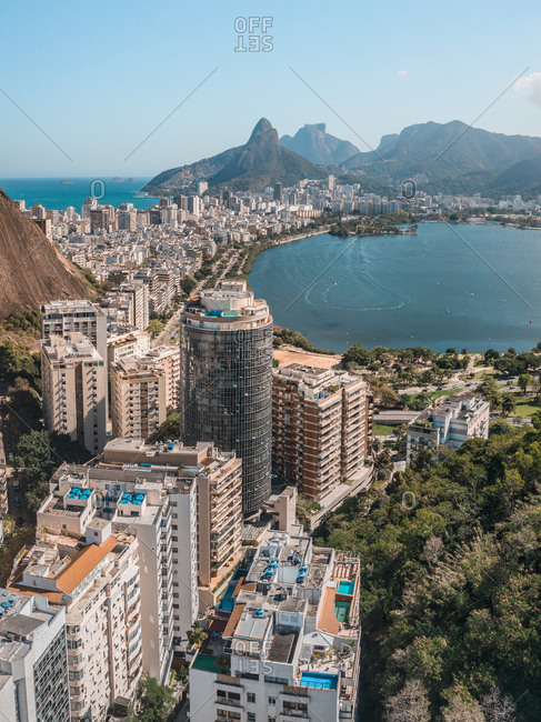 August 2, 2020: Aerial View Of Apartment Buildings In Copacabana, Ipanema And Lagoa, Mountains In Distance, Rio De Janeiro, Brazil