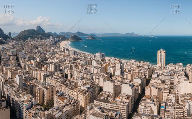 Aerial Panoramic View Of Buildings In Copacabana And Atlantic Ocean In Rio De Janeiro, Brazil