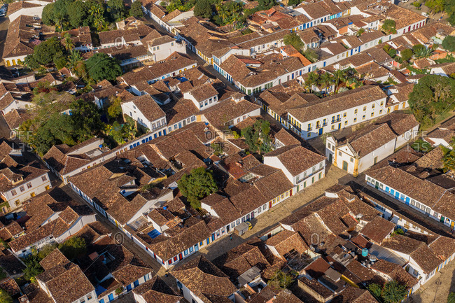 Aerial View Of Colorful Traditional Portuguese Streets In Historical City Center Of Paraty, Rio De Janeiro, Brazil