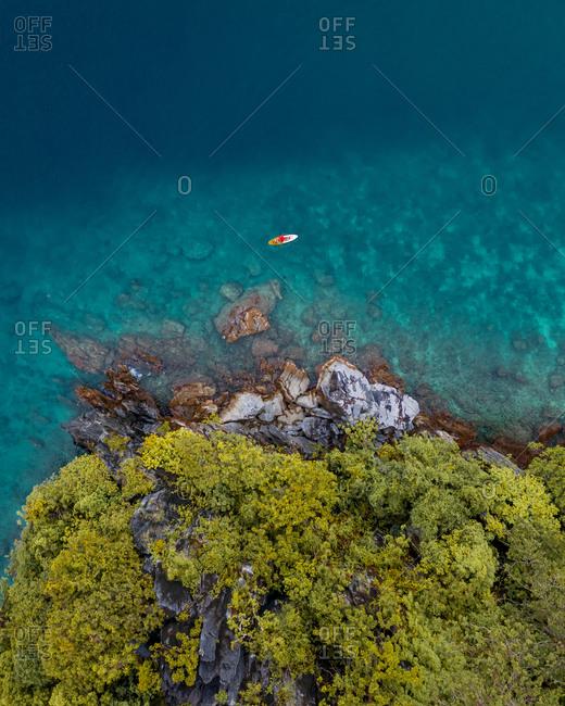 Aerial view of people on kayak in archipelago of El Nido, the Philippines.
