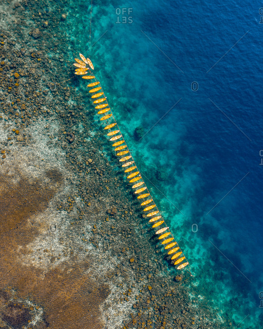 Aerial view of kayaks lined up in bay of El Nido, the Philippines.