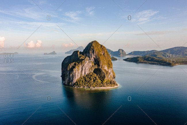 Aerial view of karst island in archipelago of El Nido, the Philippines.