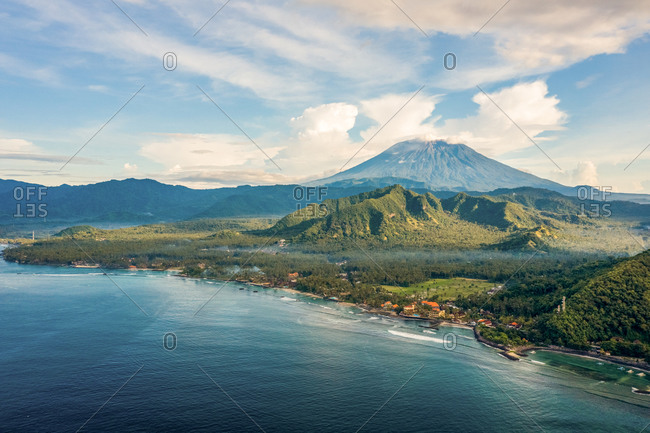 Aerial View Of Agun Volcano and coast in Bali, Indonesia.