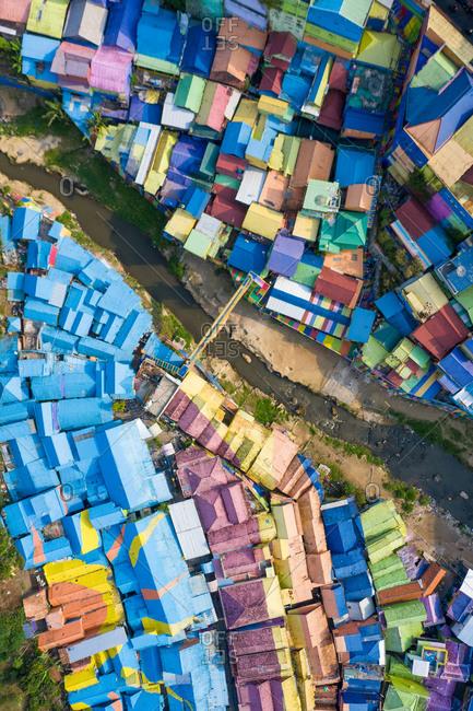 September 12, 2020: Aerial view of  colour slum of Kampung Warna Warni, Java, Indonesia.