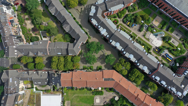 Aerial view of a modern living area, Aachen, Germany