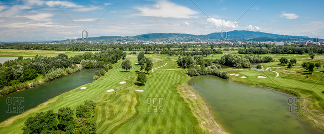Aerial view of golf course in Zagreb, Croatia.