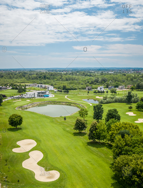 June 25, 2020: Aerial view of golf course in Zagreb, Croatia.
