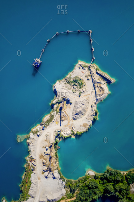 Aerial view of excavation work and reclaiming land, Croatia.