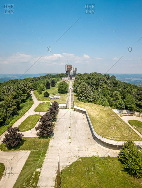 July 31, 2020: Aerial view of Monument to the Uprising of the People of Kordun and Banija, Croatia.