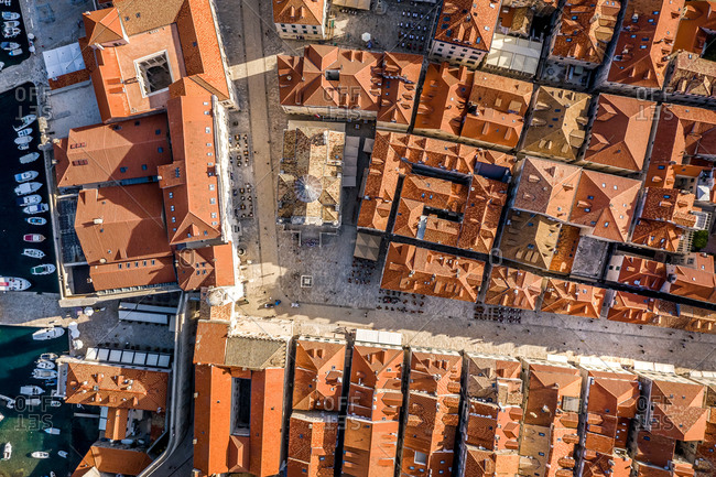 Aerial view of of the walled city of Dubrovnik, Dalmatia, Croatia.