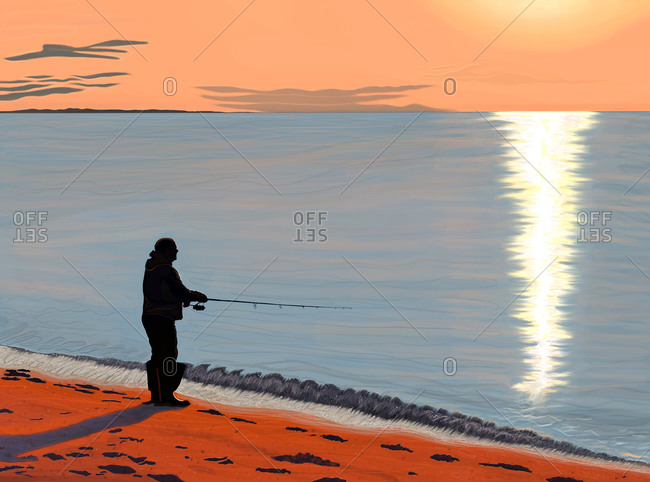 Silhouette of man fishing on a beach at sunset