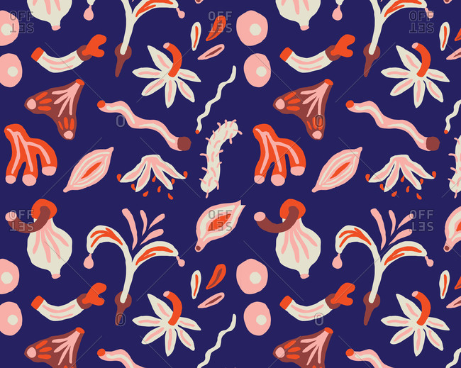 Feminine abstract pattern on blue background, illustration
