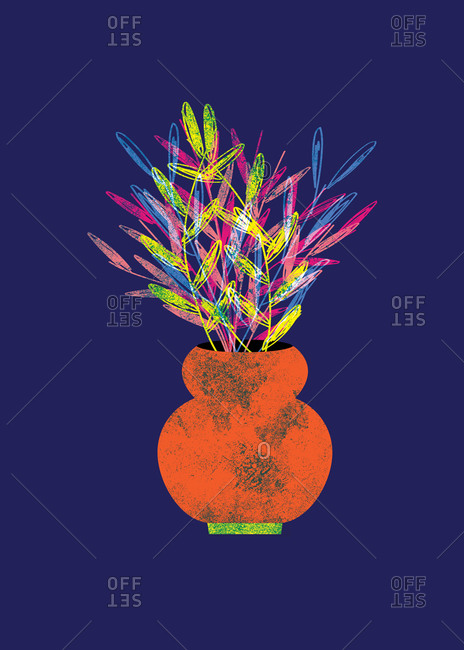 Colorful potted flower illustration with navy blue background