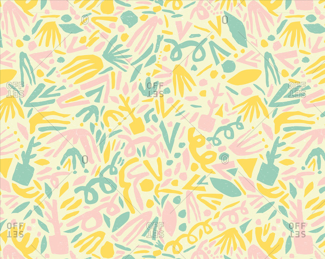Abstract forest pattern illustration in pastel colors