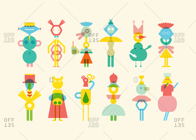 Geometric shaped friends pattern, illustration