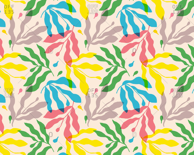 Natural leaves in a colorful pattern