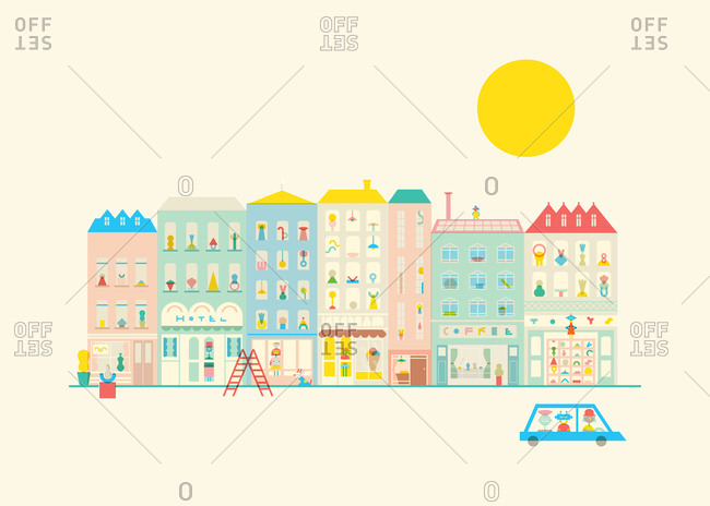 Illustration of a colorful neighborhood in a city