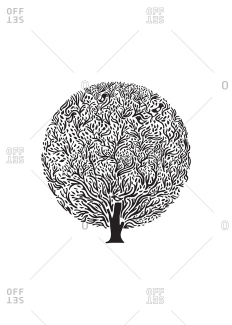 Black and white illustration of a round tree with birds