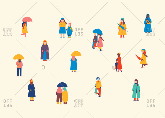 Winter themed illustration of people outside in the snow