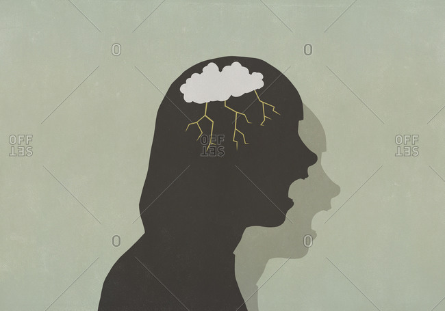 Profile silhouette screaming woman with storm cloud in head