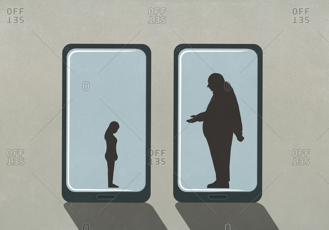 Large businessman and small woman on smart phone screens