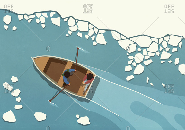 Couple in rowboat among melting icebergs on sea