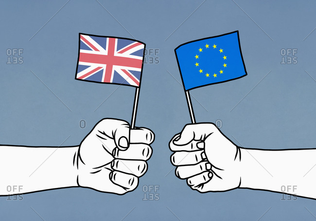 Hands holding Union Jack and European Union flags