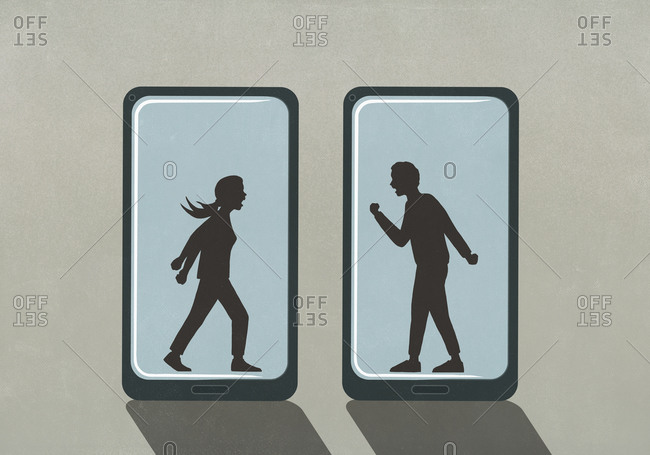 Silhouette of couple fighting on smart phone screens