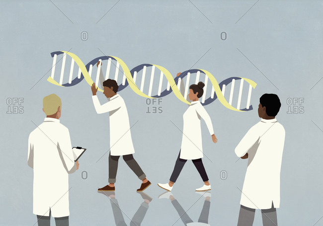 Doctors in lab coats carrying large double helix