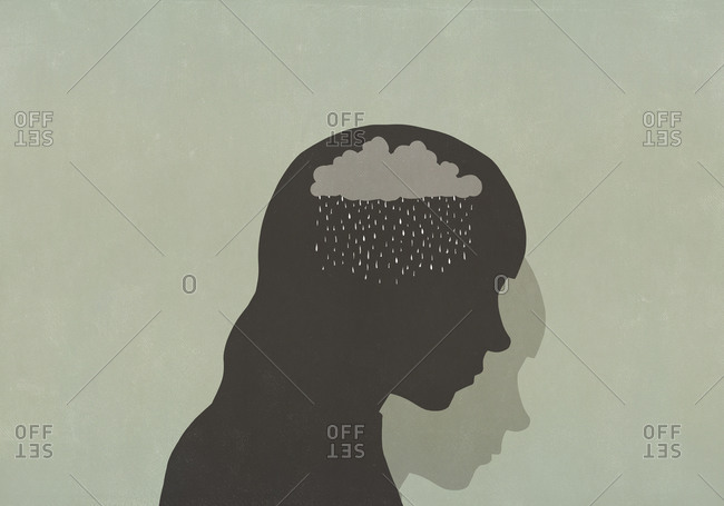 Silhouette sad woman with rain clouds in head