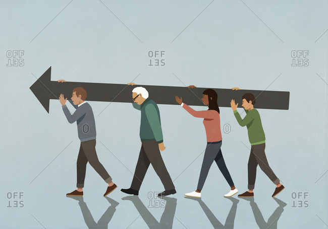 Multiethnic community carrying large arrow