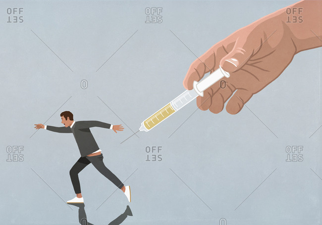 Large hand with vaccine syringe chasing running man
